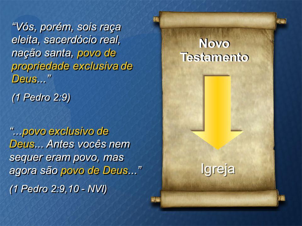 """Novo Testamento Novo Testamento Igreja """"Vós, porém, sois raça eleita, sacerdócio real, nação santa, povo de propriedade exclusiva de Deus..."""" (1 Pedro"""