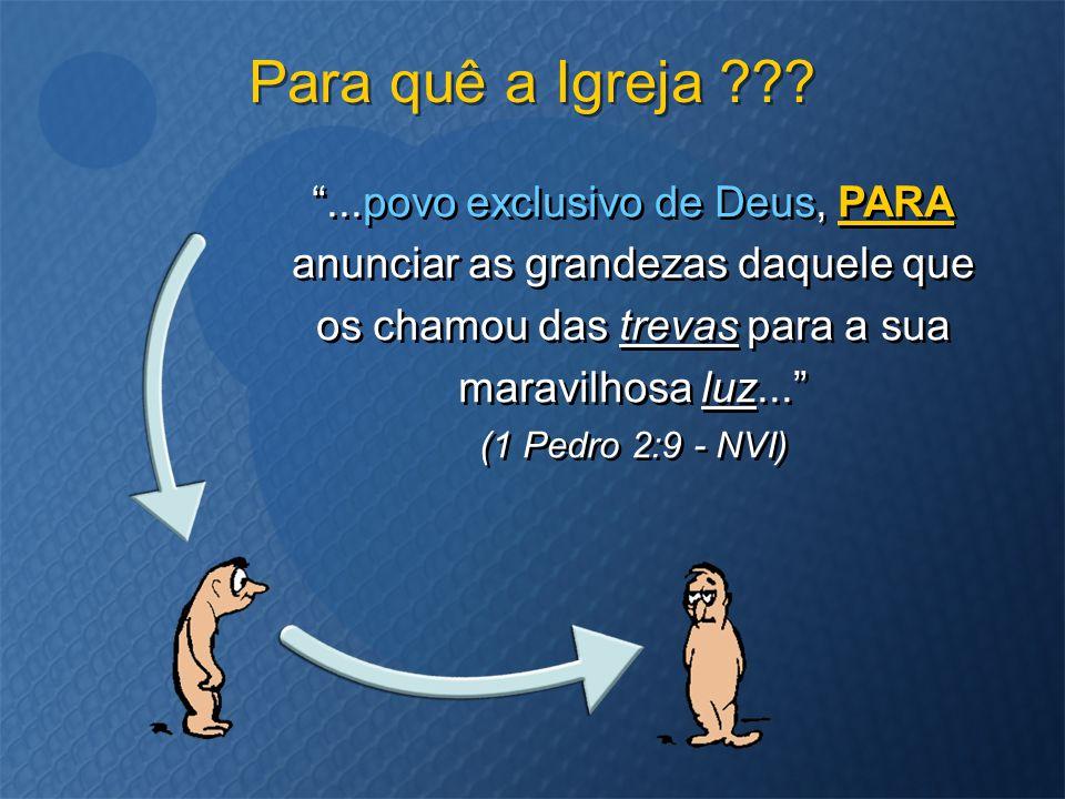 """""""...povo exclusivo de Deus, PARA anunciar as grandezas daquele que os chamou das trevas para a sua maravilhosa luz..."""" (1 Pedro 2:9 - NVI) Para quê a"""