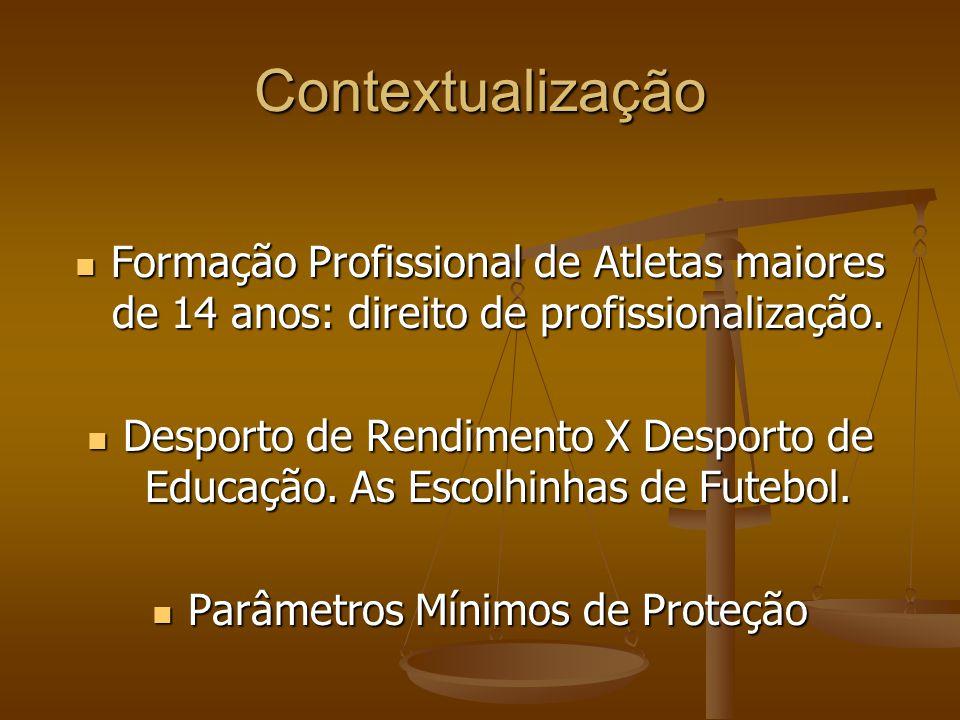 Contextualização Formação Profissional de Atletas maiores de 14 anos: direito de profissionalização.