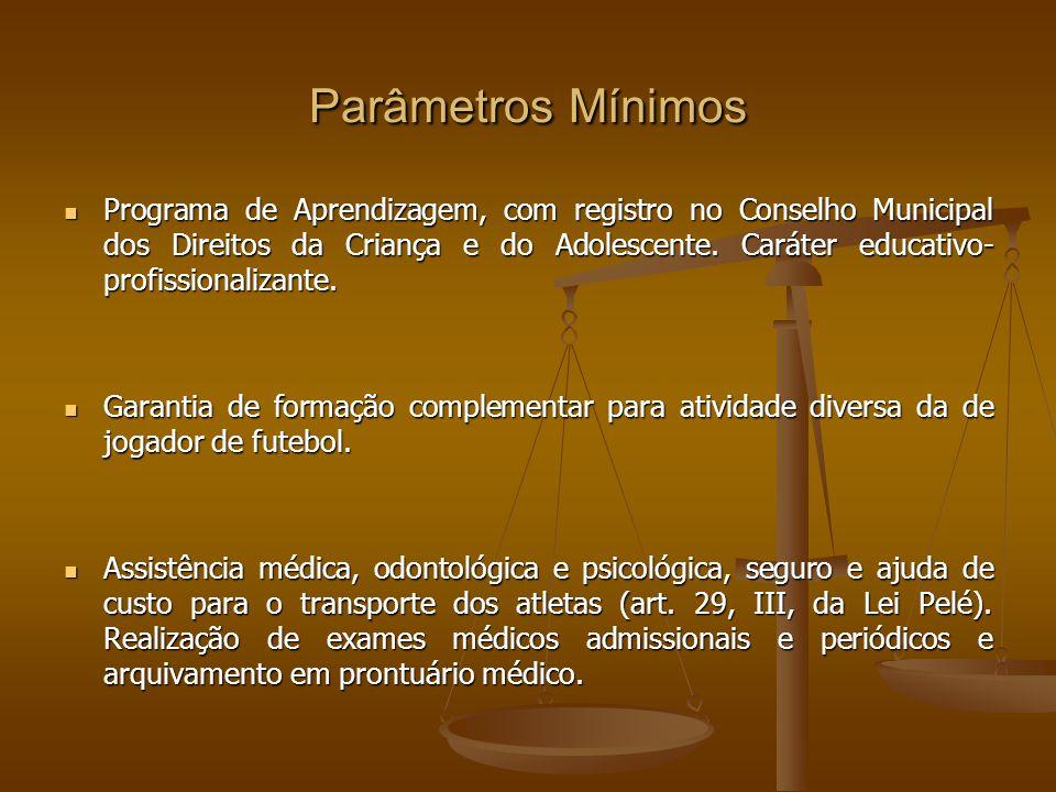 Parâmetros Mínimos Programa de Aprendizagem, com registro no Conselho Municipal dos Direitos da Criança e do Adolescente.