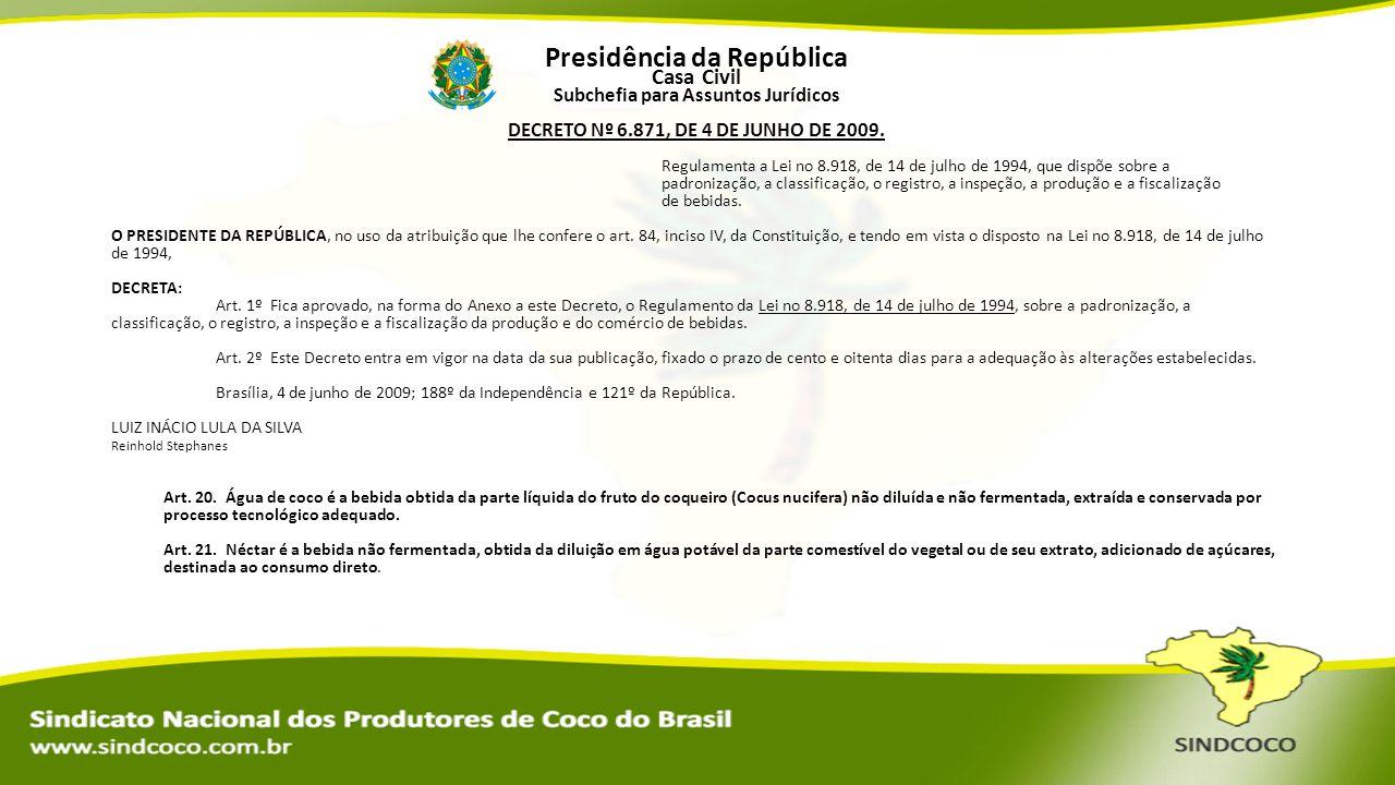Presidência da República Casa Civil Subchefia para Assuntos Jurídicos DECRETO Nº 6.871, DE 4 DE JUNHO DE 2009. O PRESIDENTE DA REPÚBLICA, no uso da at