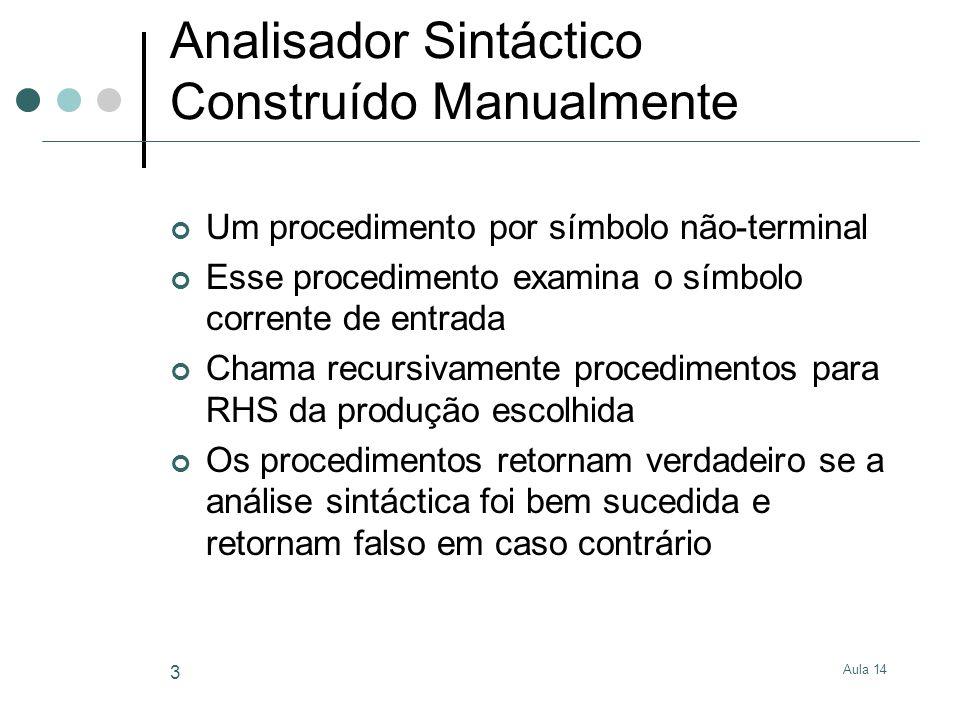 Aula 14 3 Analisador Sintáctico Construído Manualmente Um procedimento por símbolo não-terminal Esse procedimento examina o símbolo corrente de entrad