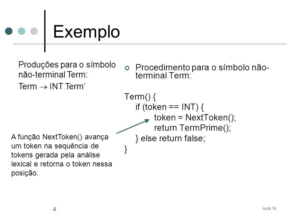 Aula 14 4 Exemplo Procedimento para o símbolo não- terminal Term: Term() { if (token == INT) { token = NextToken(); return TermPrime(); } else return false; } Produções para o símbolo não-terminal Term: Term  INT Term' A função NextToken() avança um token na sequência de tokens gerada pela análise lexical e retorna o token nessa posição.