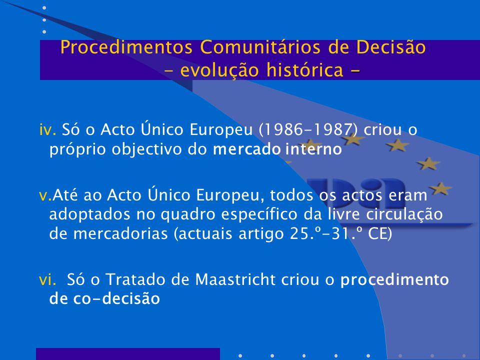 iv. Só o Acto Único Europeu (1986-1987) criou o próprio objectivo do mercado interno v.Até ao Acto Único Europeu, todos os actos eram adoptados no qua