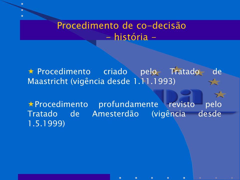  Procedimento criado pelo Tratado de Maastricht (vigência desde 1.11.1993)  Procedimento profundamente revisto pelo Tratado de Amesterdão (vigência desde 1.5.1999) Procedimento de co-decisão - história -