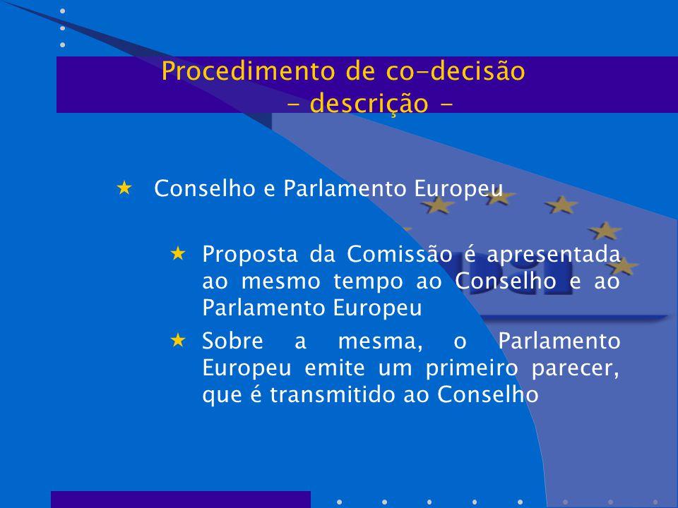  Conselho e Parlamento Europeu  Proposta da Comissão é apresentada ao mesmo tempo ao Conselho e ao Parlamento Europeu  Sobre a mesma, o Parlamento Europeu emite um primeiro parecer, que é transmitido ao Conselho Procedimento de co-decisão - descrição -
