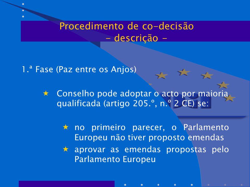 1.ª Fase (Paz entre os Anjos)  Conselho pode adoptar o acto por maioria qualificada (artigo 205.º, n.º 2 CE) se:  no primeiro parecer, o Parlamento Europeu não tiver proposto emendas  aprovar as emendas propostas pelo Parlamento Europeu Procedimento de co-decisão - descrição -