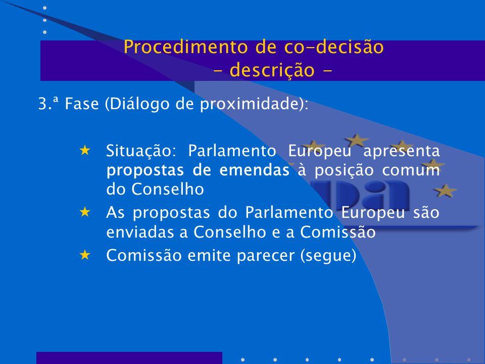 3.ª Fase (Diálogo de proximidade):  Situação: Parlamento Europeu apresenta propostas de emendas à posição comum do Conselho  As propostas do Parlamento Europeu são enviadas a Conselho e a Comissão  Comissão emite parecer (segue) Procedimento de co-decisão - descrição -