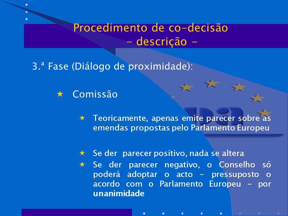 3.ª Fase (Diálogo de proximidade):  Comissão  Teoricamente, apenas emite parecer sobre as emendas propostas pelo Parlamento Europeu  Se der parecer positivo, nada se altera  Se der parecer negativo, o Conselho só poderá adoptar o acto - pressuposto o acordo com o Parlamento Europeu - por unanimidade Procedimento de co-decisão - descrição -