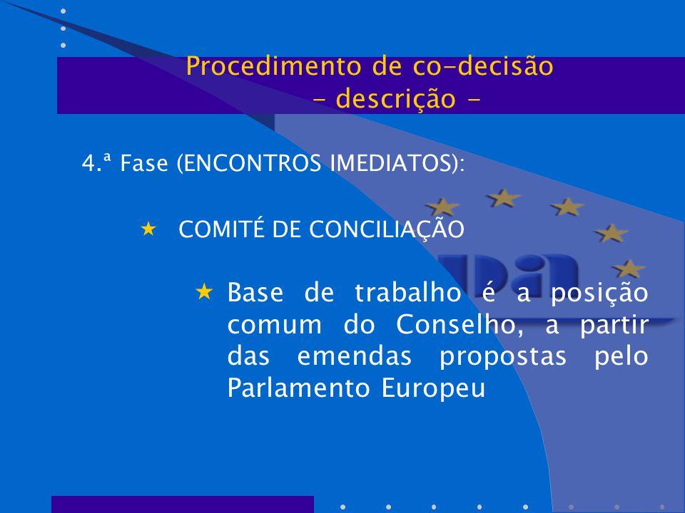 4.ª Fase (ENCONTROS IMEDIATOS):  COMITÉ DE CONCILIAÇÃO  Base de trabalho é a posição comum do Conselho, a partir das emendas propostas pelo Parlamento Europeu Procedimento de co-decisão - descrição -