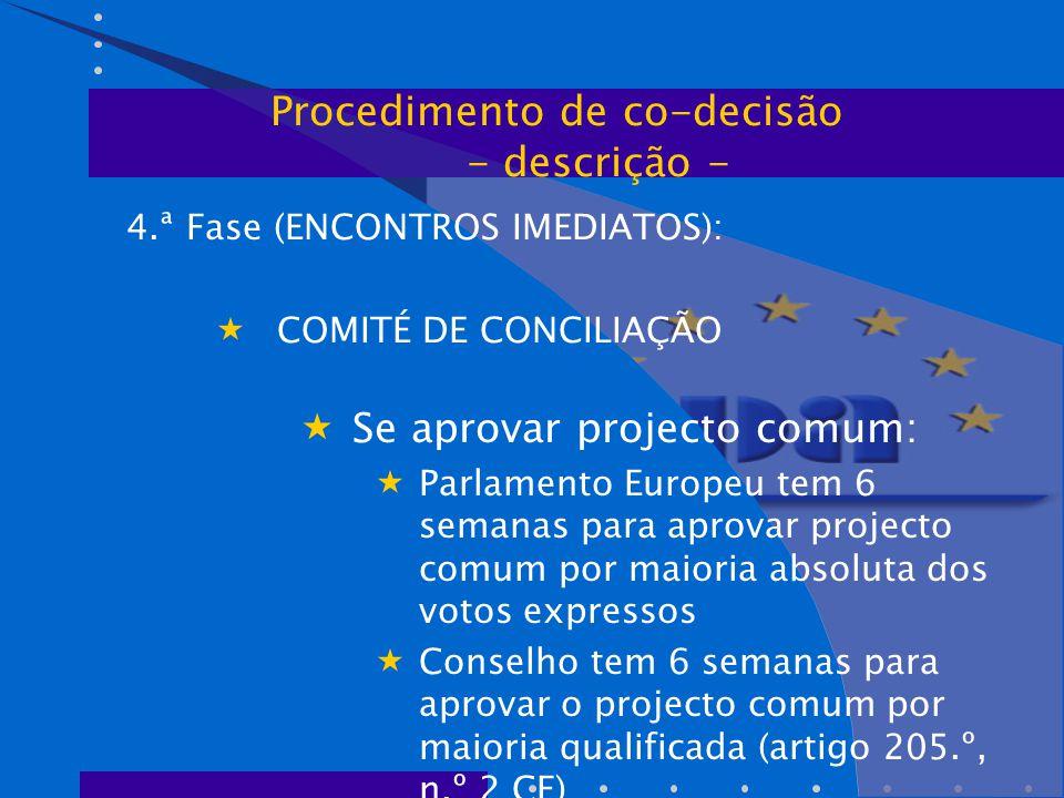 4.ª Fase (ENCONTROS IMEDIATOS):  COMITÉ DE CONCILIAÇÃO  Se aprovar projecto comum:  Parlamento Europeu tem 6 semanas para aprovar projecto comum por maioria absoluta dos votos expressos  Conselho tem 6 semanas para aprovar o projecto comum por maioria qualificada (artigo 205.º, n.º 2 CE) Procedimento de co-decisão - descrição -
