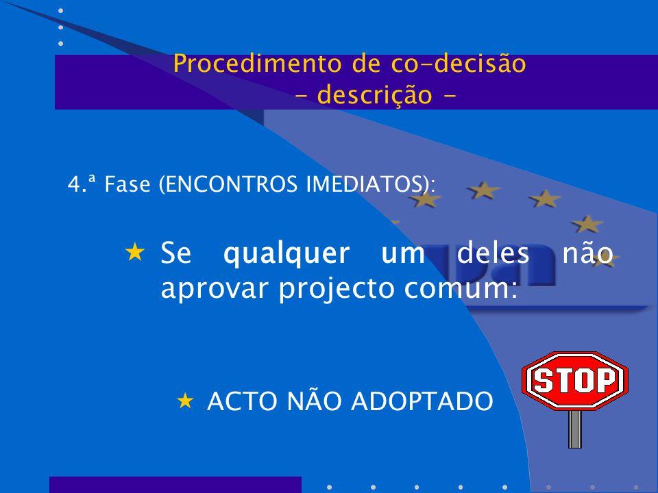 4.ª Fase (ENCONTROS IMEDIATOS):  Se qualquer um deles não aprovar projecto comum:  ACTO NÃO ADOPTADO Procedimento de co-decisão - descrição -
