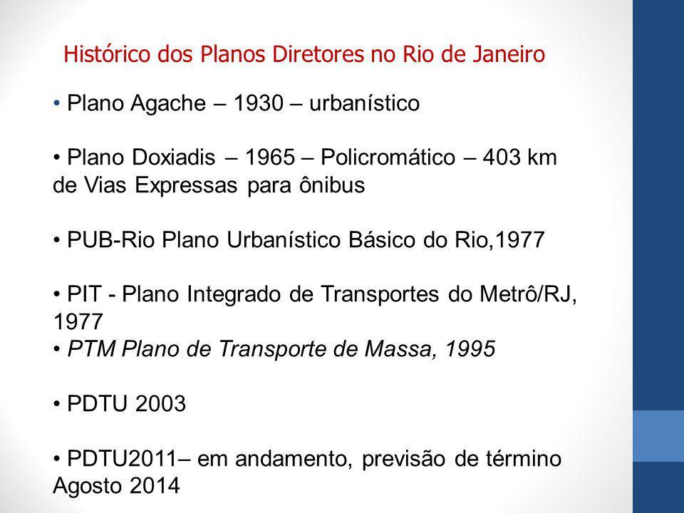 Plano Agache – 1930 – urbanístico Plano Doxiadis – 1965 – Policromático – 403 km de Vias Expressas para ônibus PUB-Rio Plano Urbanístico Básico do Rio,1977 PIT - Plano Integrado de Transportes do Metrô/RJ, 1977 PTM Plano de Transporte de Massa, 1995 PDTU 2003 PDTU2011– em andamento, previsão de término Agosto 2014 Histórico dos Planos Diretores no Rio de Janeiro