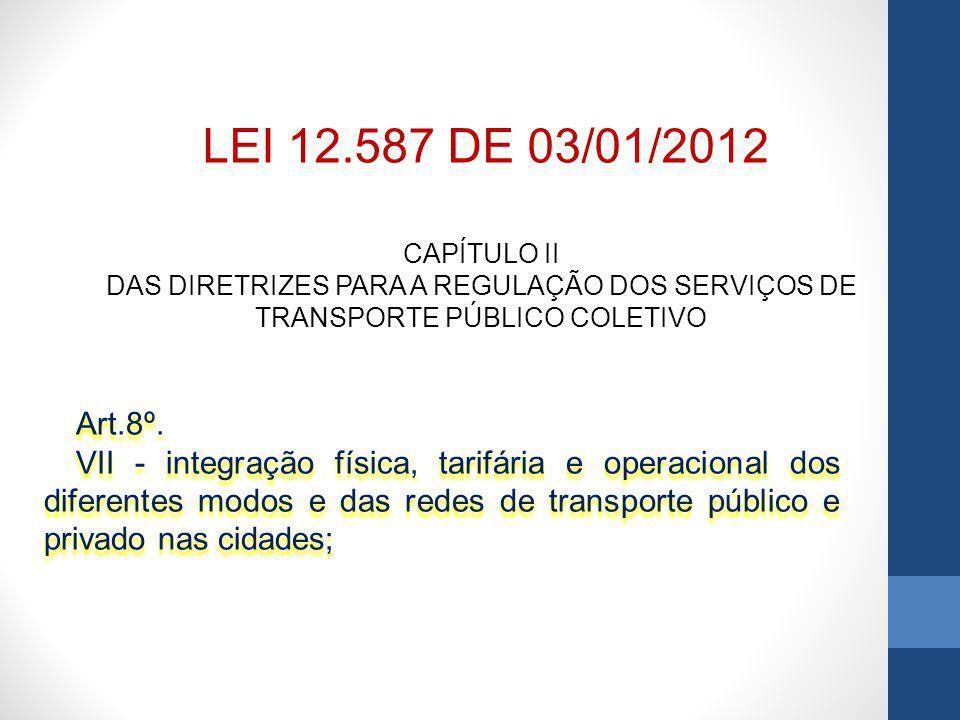 CAPÍTULO II DAS DIRETRIZES PARA A REGULAÇÃO DOS SERVIÇOS DE TRANSPORTE PÚBLICO COLETIVO Art.8º.