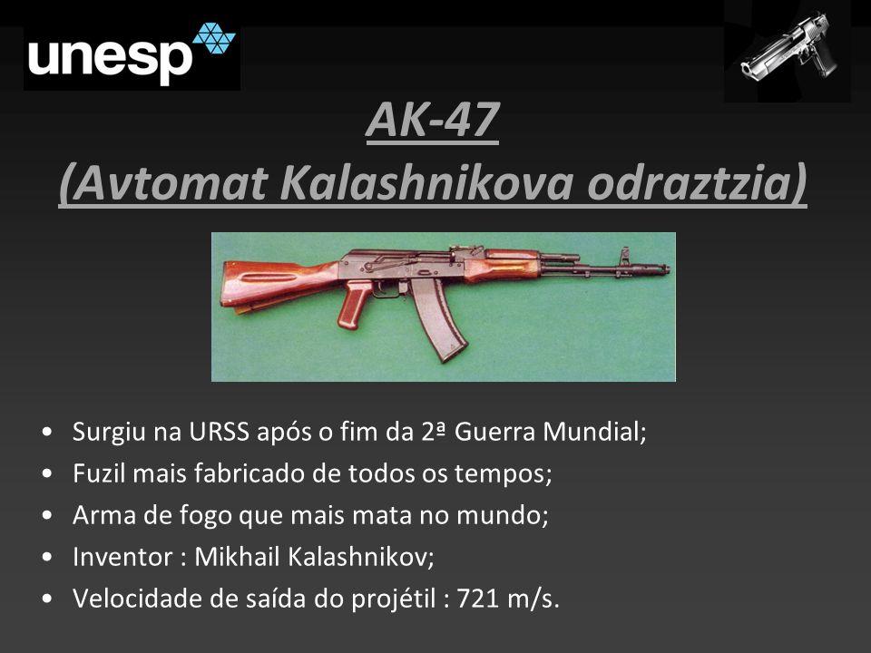 AK-47 (Avtomat Kalashnikova odraztzia) Surgiu na URSS após o fim da 2ª Guerra Mundial; Fuzil mais fabricado de todos os tempos; Arma de fogo que mais mata no mundo; Inventor : Mikhail Kalashnikov; Velocidade de saída do projétil : 721 m/s.
