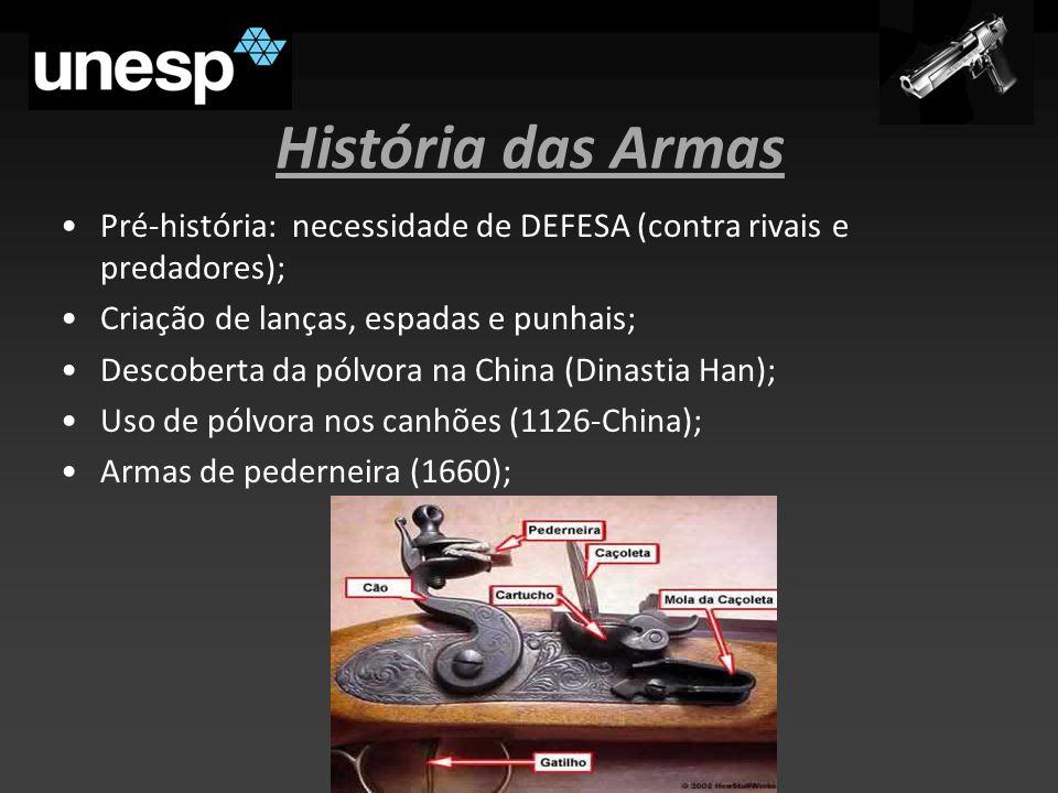 História das Armas Pré-história: necessidade de DEFESA (contra rivais e predadores); Criação de lanças, espadas e punhais; Descoberta da pólvora na China (Dinastia Han); Uso de pólvora nos canhões (1126-China); Armas de pederneira (1660);