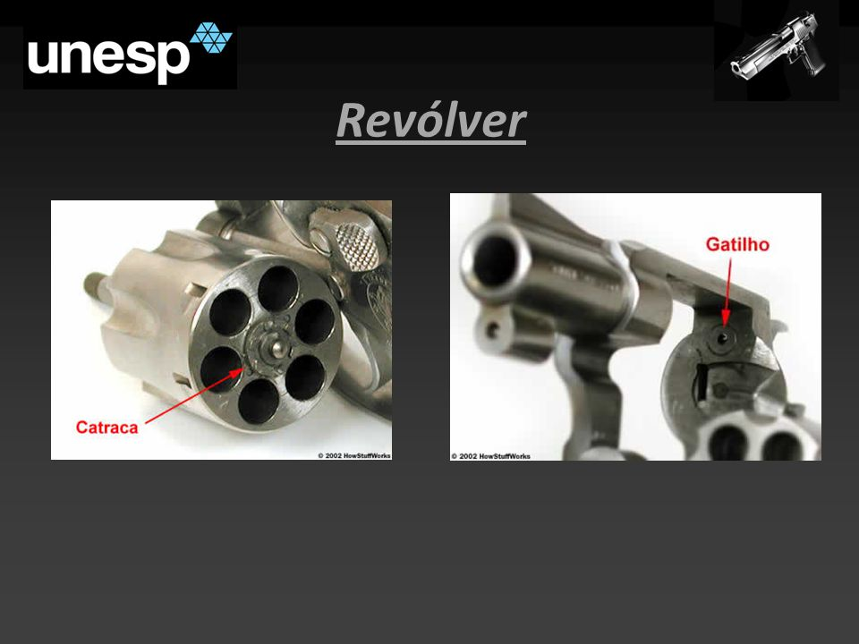 Munição Dividida em quatro partes: - Estopim: ignição; - Cápsula: isolamento; - Projétil: manter a munição lacrada e ser impulsionado pelos gases; - Propelente: responsável pelo disparo.