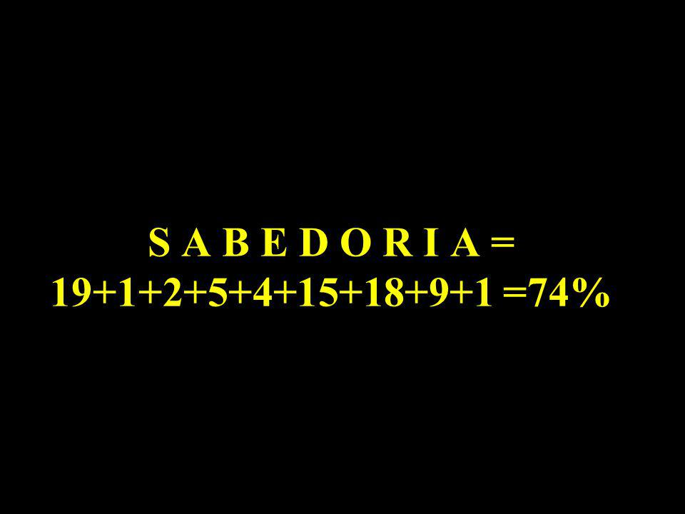 Então: D E D I C A R - S E = 04+05+04+09+03+01+18+19+05 = 64%