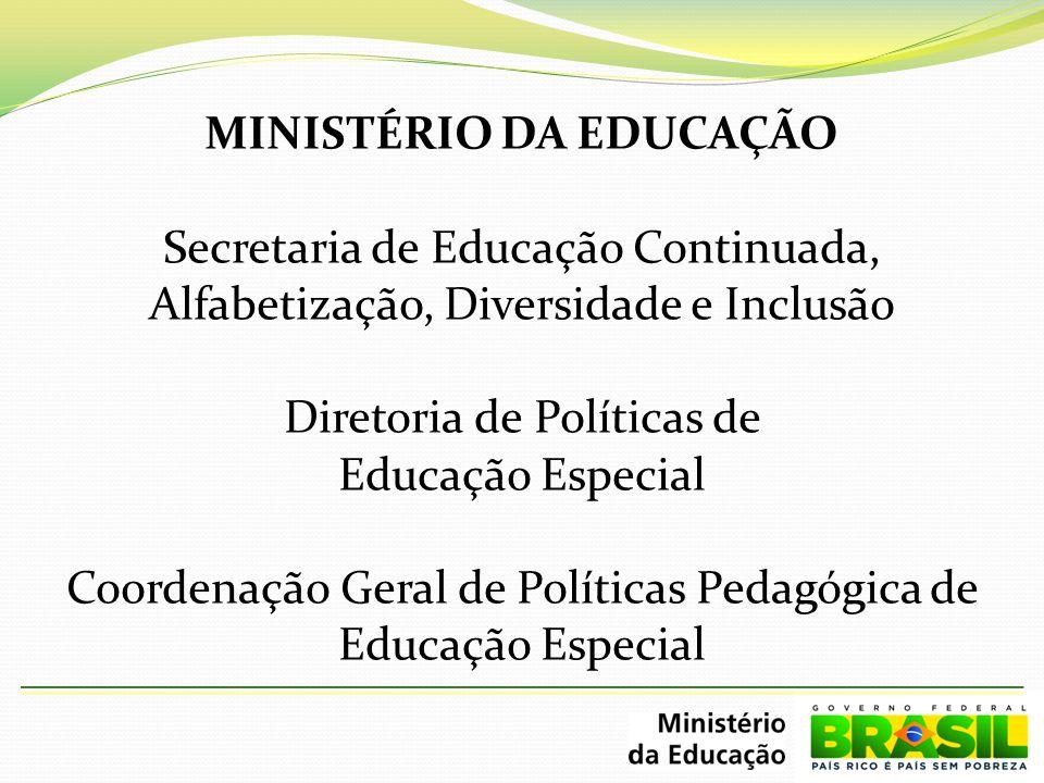 MINISTÉRIO DA EDUCAÇÃO Secretaria de Educação Continuada, Alfabetização, Diversidade e Inclusão Diretoria de Políticas de Educação Especial Coordenação Geral de Políticas Pedagógica de Educação Especial