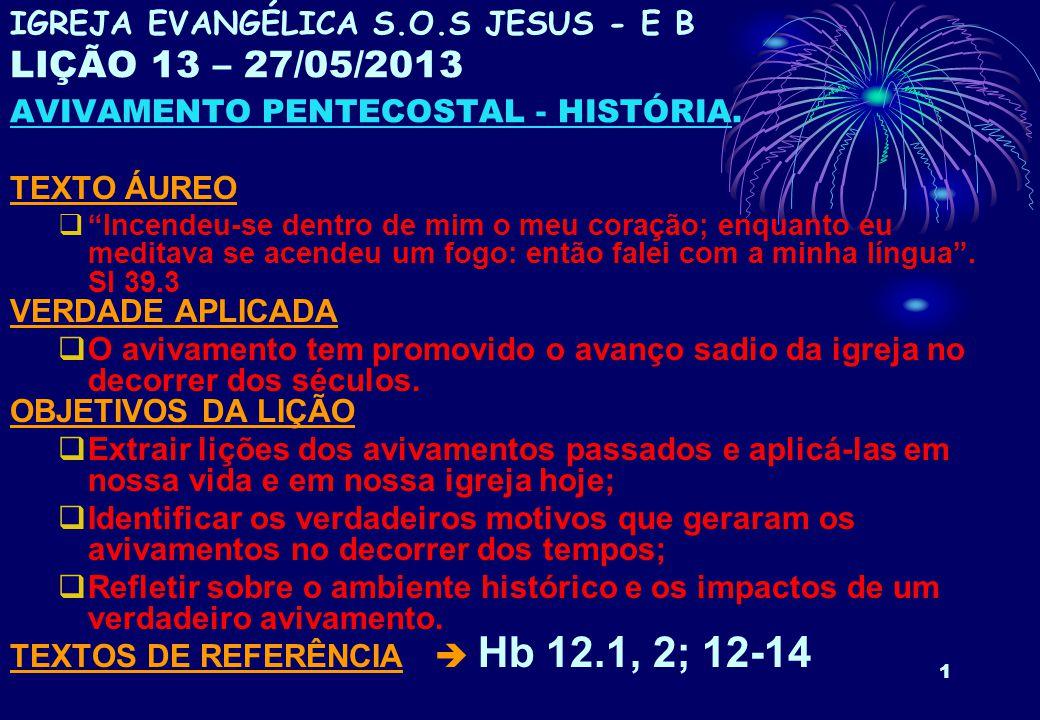 12 3.AVIVAMENTO A PARTIR DA REFORMA a. MARTINHO LUTERO (1483 – 1546) Autêntico pentecostal.