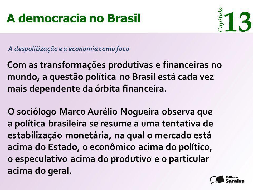 A democracia no Brasil 13 Capítulo Com as transformações produtivas e financeiras no mundo, a questão política no Brasil está cada vez mais dependente
