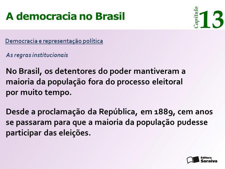 A democracia no Brasil 13 Capítulo Democracia e representação política Desde a proclamação da República, em 1889, cem anos se passaram para que a maio