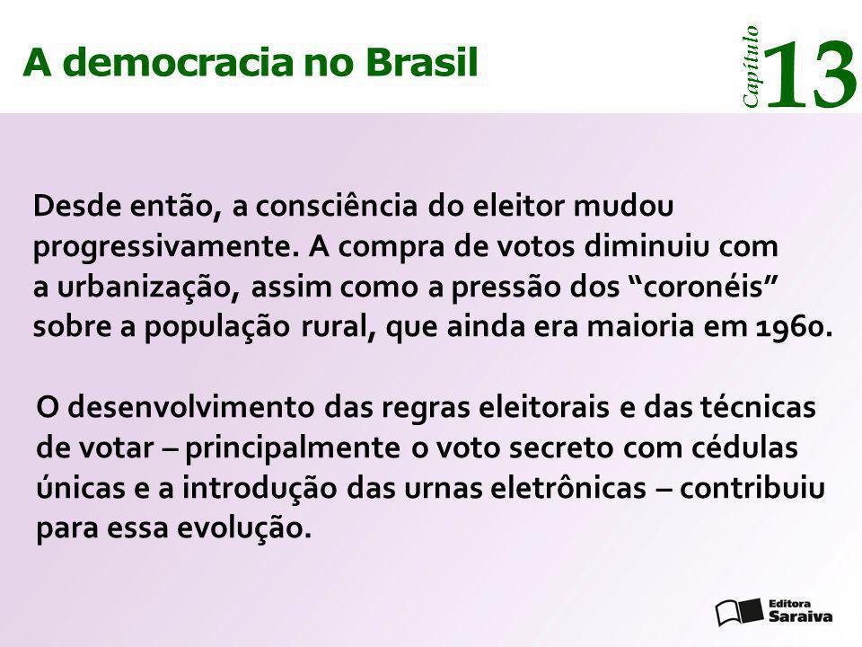 A democracia no Brasil 13 Capítulo Desde então, a consciência do eleitor mudou progressivamente. A compra de votos diminuiu com a urbanização, assim c