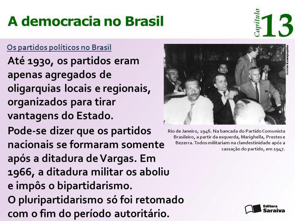A democracia no Brasil 13 Capítulo Os partidos políticos no Brasil Rio de Janeiro, 1946. Na bancada do Partido Comunista Brasileiro, a partir da esque