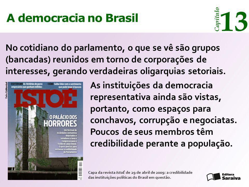 A democracia no Brasil 13 Capítulo No cotidiano do parlamento, o que se vê são grupos (bancadas) reunidos em torno de corporações de interesses, geran