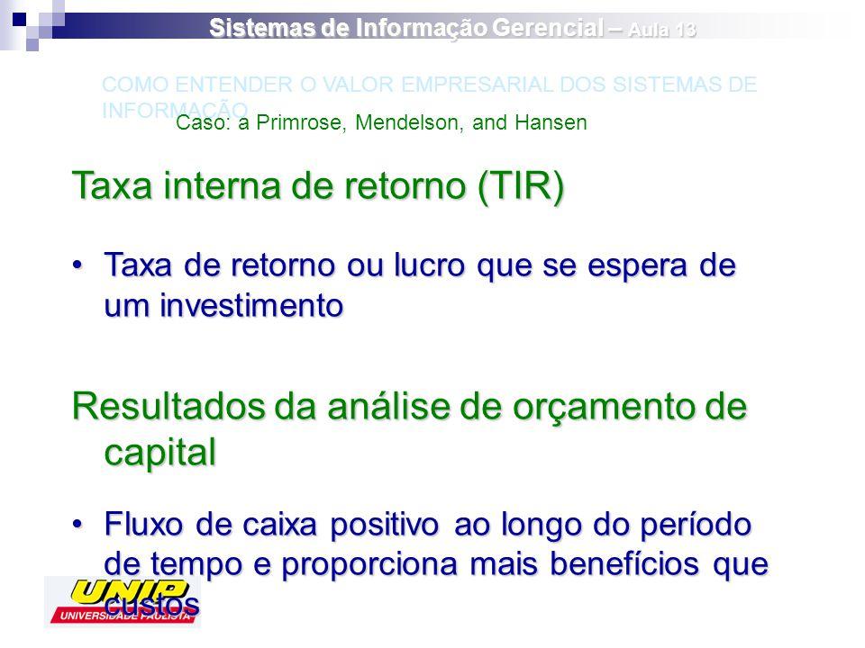 Taxa interna de retorno (TIR) Taxa de retorno ou lucro que se espera de um investimentoTaxa de retorno ou lucro que se espera de um investimento Resul