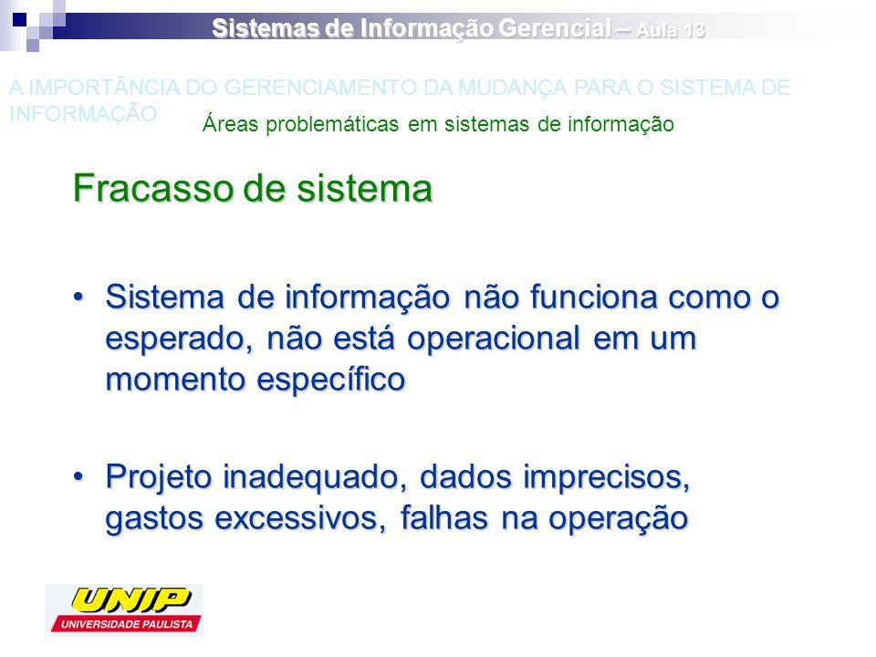 Fracasso de sistema Sistema de informação não funciona como o esperado, não está operacional em um momento específicoSistema de informação não funcion