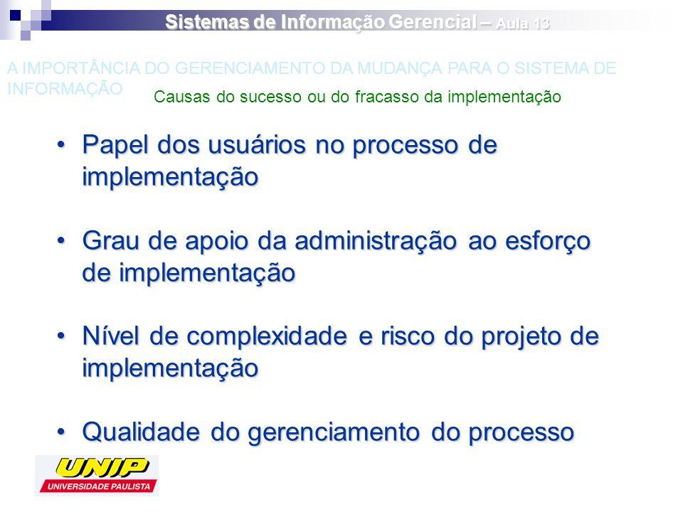 Papel dos usuários no processo de implementaçãoPapel dos usuários no processo de implementação Grau de apoio da administração ao esforço de implementa