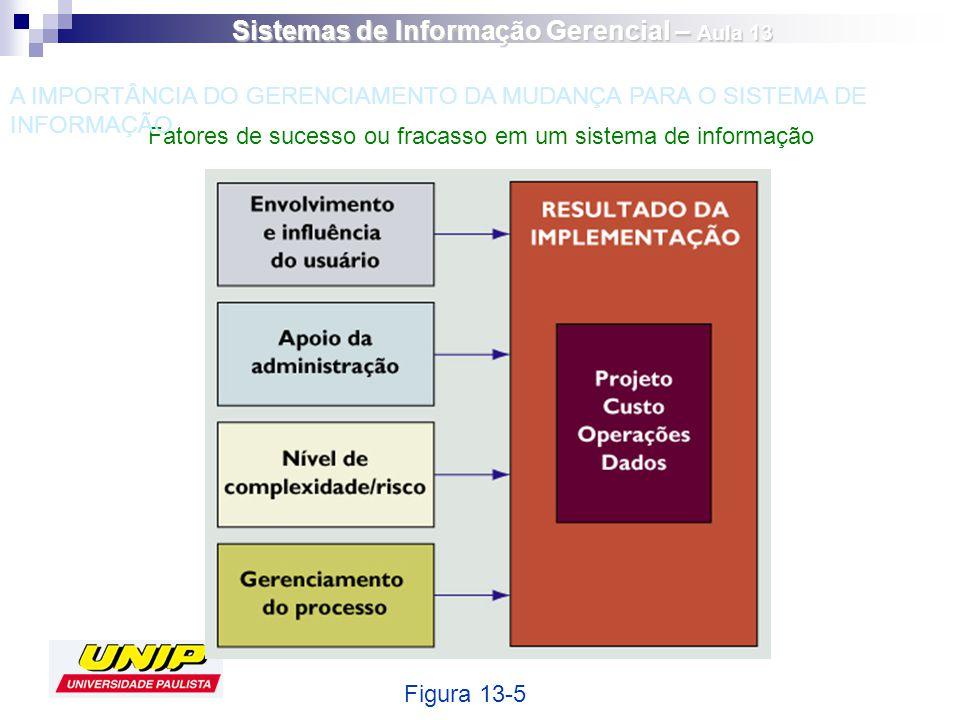 Fatores de sucesso ou fracasso em um sistema de informação Figura 13-5 A IMPORTÂNCIA DO GERENCIAMENTO DA MUDANÇA PARA O SISTEMA DE INFORMAÇÃO Sistemas