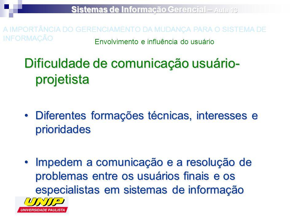 Dificuldade de comunicação usuário- projetista Diferentes formações técnicas, interesses e prioridadesDiferentes formações técnicas, interesses e prio