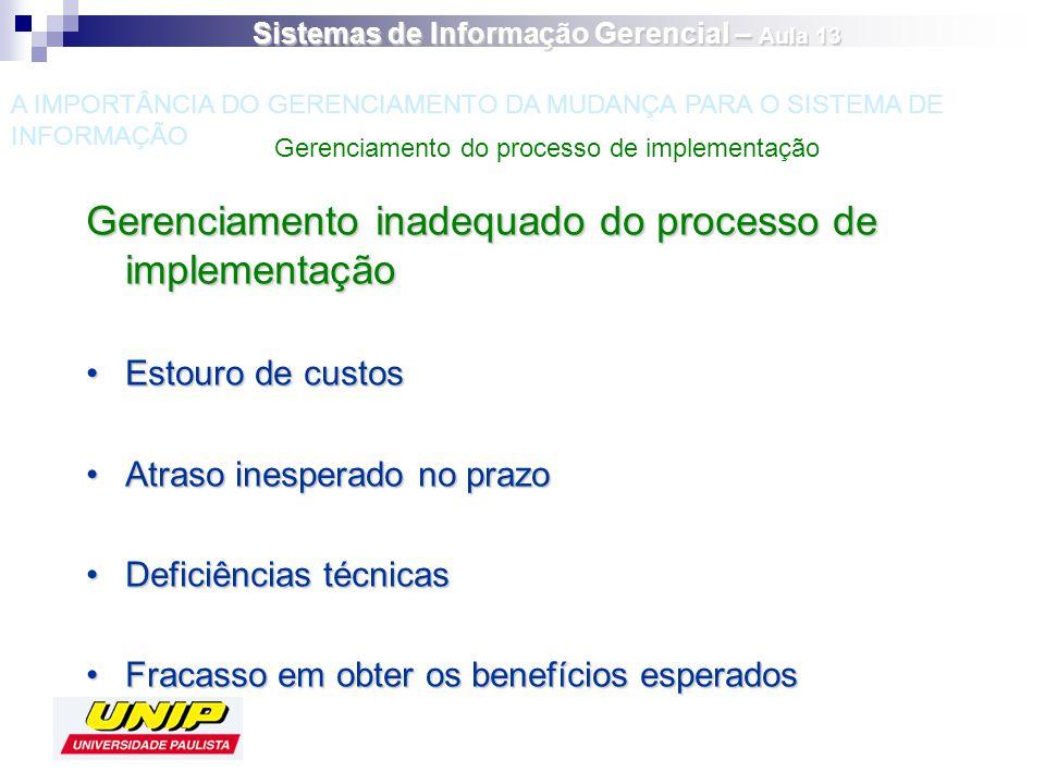 Gerenciamento inadequado do processo de implementação Estouro de custosEstouro de custos Atraso inesperado no prazoAtraso inesperado no prazo Deficiên
