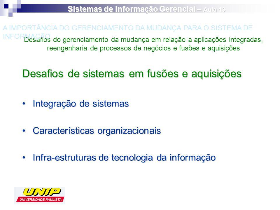 Desafios de sistemas em fusões e aquisições Integração de sistemasIntegração de sistemas Características organizacionaisCaracterísticas organizacionai