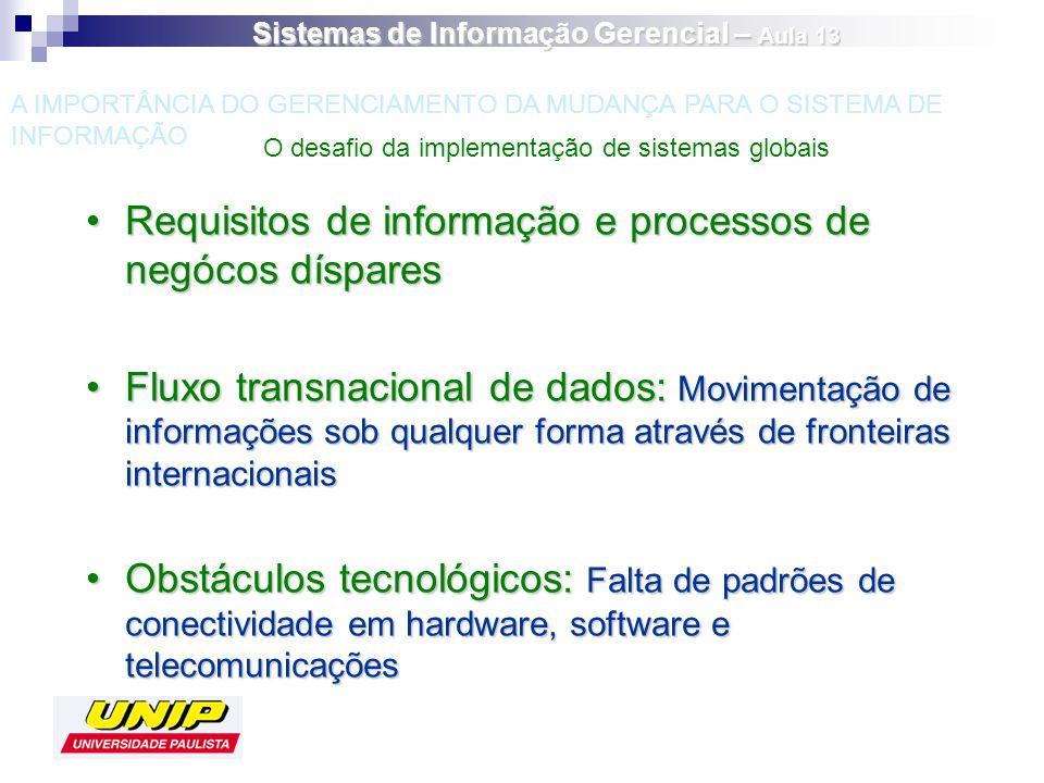 Requisitos de informação e processos de negócos dísparesRequisitos de informação e processos de negócos díspares Fluxo transnacional de dados: Movimen