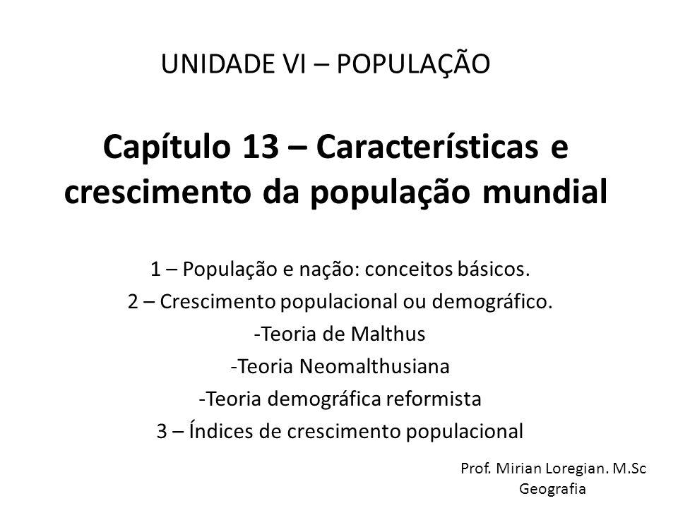 Capítulo 13 – Características e crescimento da população mundial 1 – População e nação: conceitos básicos. 2 – Crescimento populacional ou demográfico
