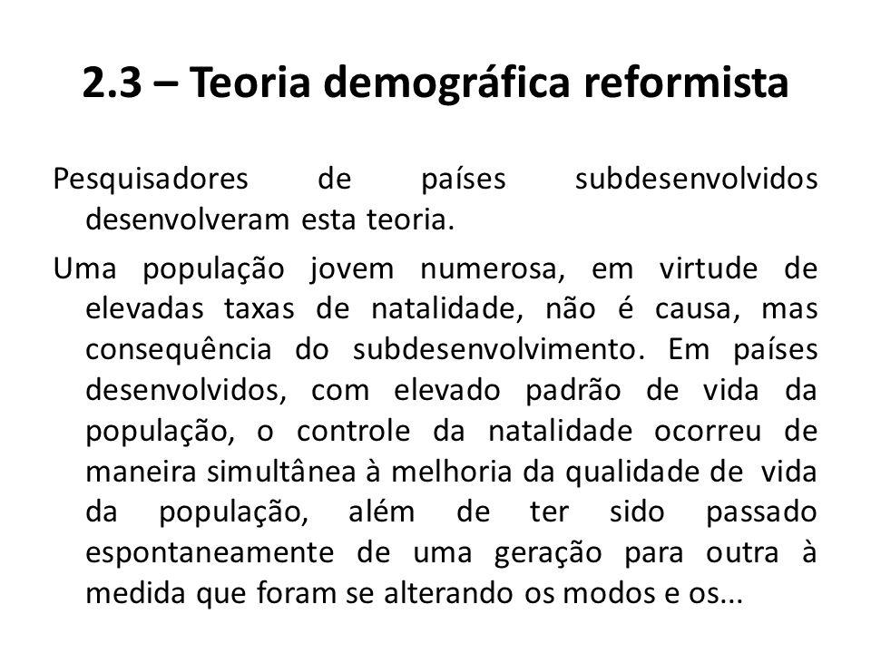 2.3 – Teoria demográfica reformista Pesquisadores de países subdesenvolvidos desenvolveram esta teoria. Uma população jovem numerosa, em virtude de el