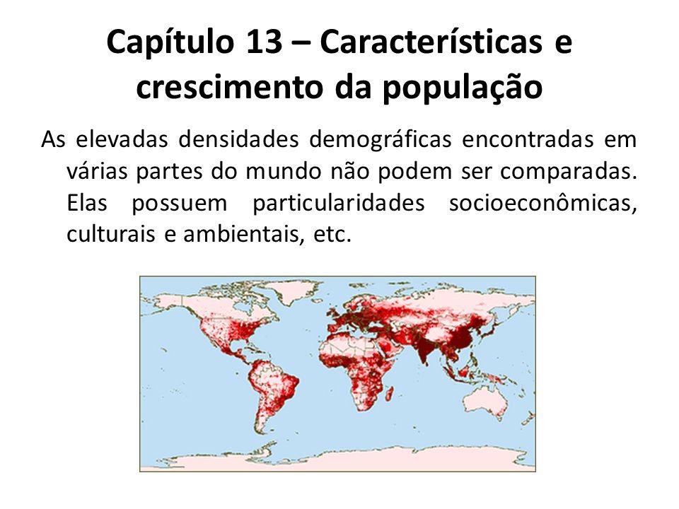 Capítulo 13 – Características e crescimento da população As elevadas densidades demográficas encontradas em várias partes do mundo não podem ser compa