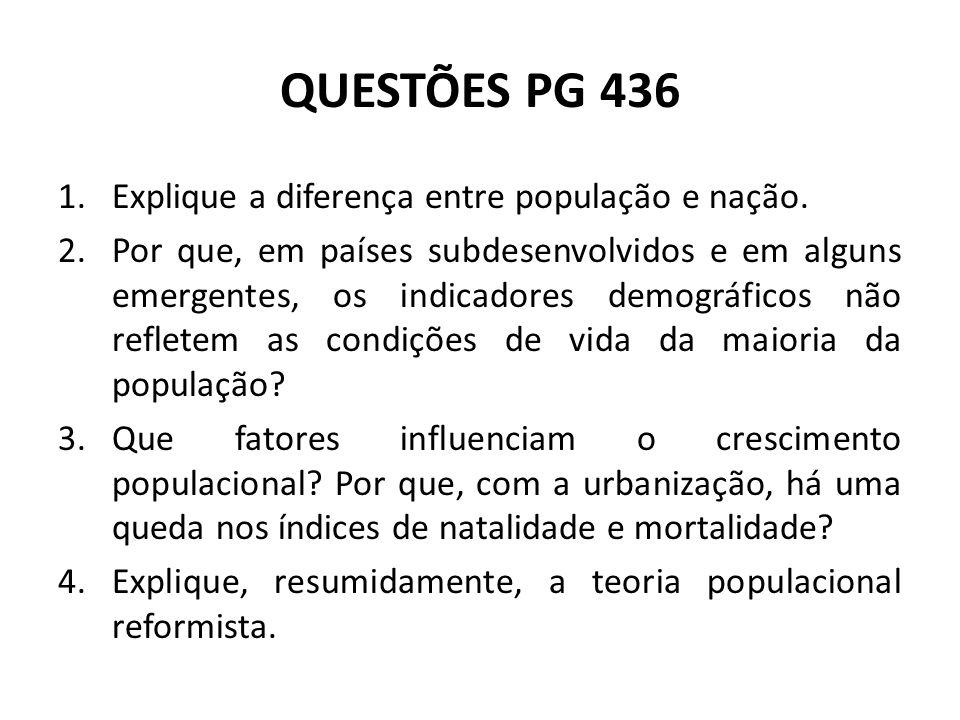 QUESTÕES PG 436 1.Explique a diferença entre população e nação. 2.Por que, em países subdesenvolvidos e em alguns emergentes, os indicadores demográfi