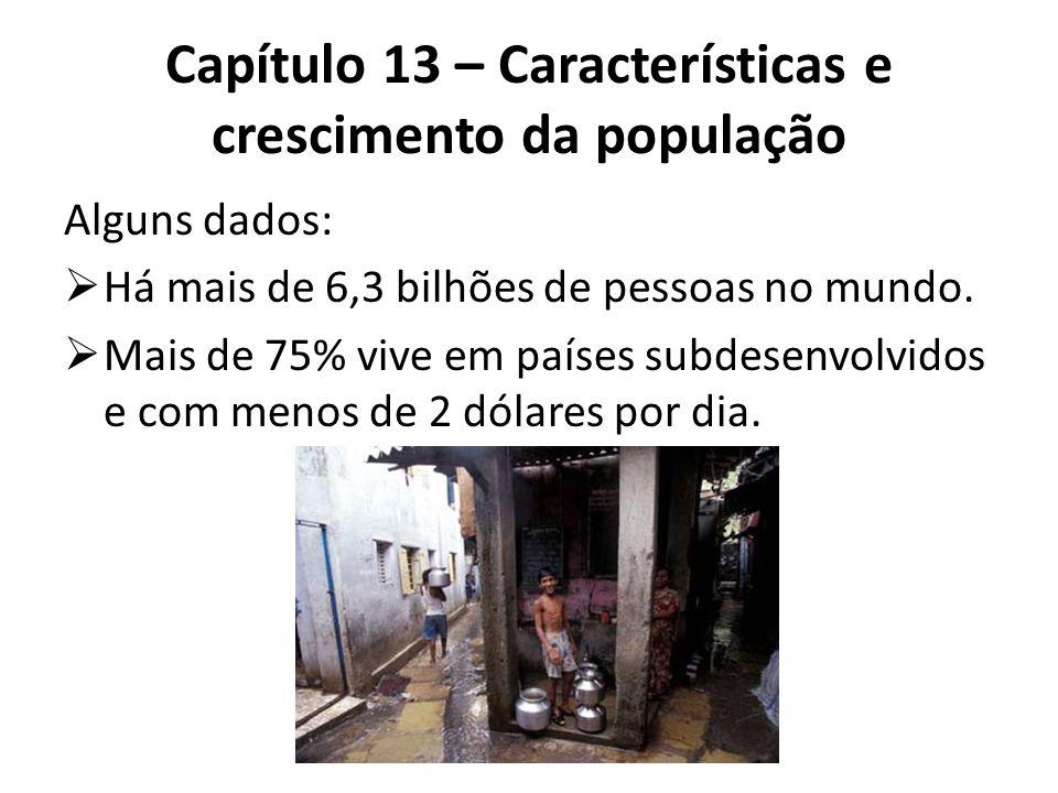 Alguns dados:  Há mais de 6,3 bilhões de pessoas no mundo.  Mais de 75% vive em países subdesenvolvidos e com menos de 2 dólares por dia. Capítulo 1