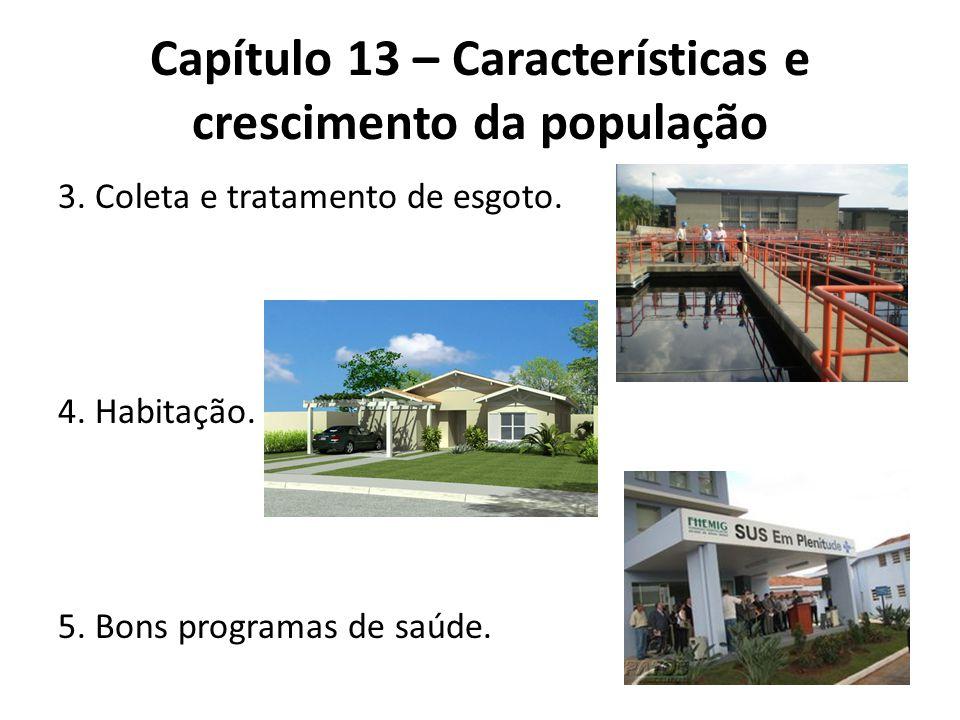 3. Coleta e tratamento de esgoto. 4. Habitação. 5. Bons programas de saúde. Capítulo 13 – Características e crescimento da população