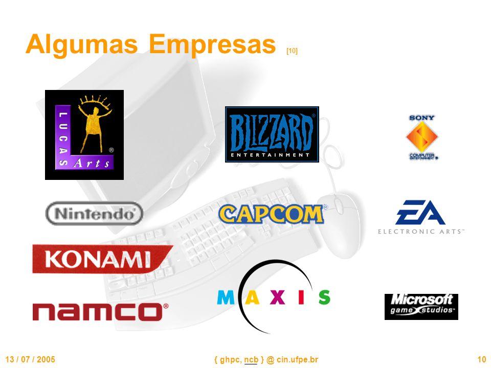 13 / 07 / 2005{ ghpc, ncb } @ cin.ufpe.br10 Algumas Empresas [10]