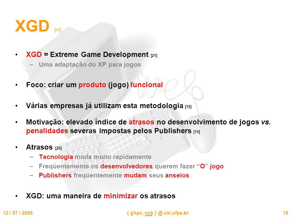 13 / 07 / 2005{ ghpc, ncb } @ cin.ufpe.br15 XGD [17] XGD = Extreme Game Development [21] –Uma adaptação do XP para jogos Foco: criar um produto (jogo) funcional Várias empresas já utilizam esta metodologia [18] Motivação: elevado índice de atrasos no desenvolvimento de jogos vs.