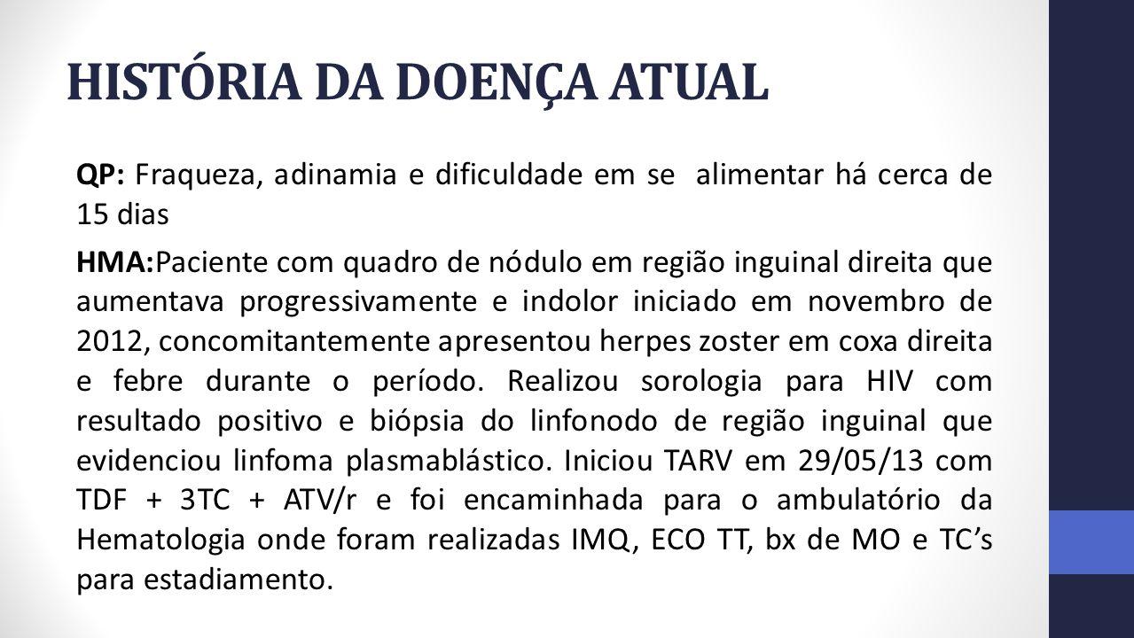 HISTÓRIA DA DOENÇA ATUAL Evoluiu cerca de 1 mês após o diagnóstico com aumento importante de linfonodo em região inguinal direita, com calor e hiperemia local, sem febre; quando foi programada início de QT com protocolo de CODOX-M/IVAC.