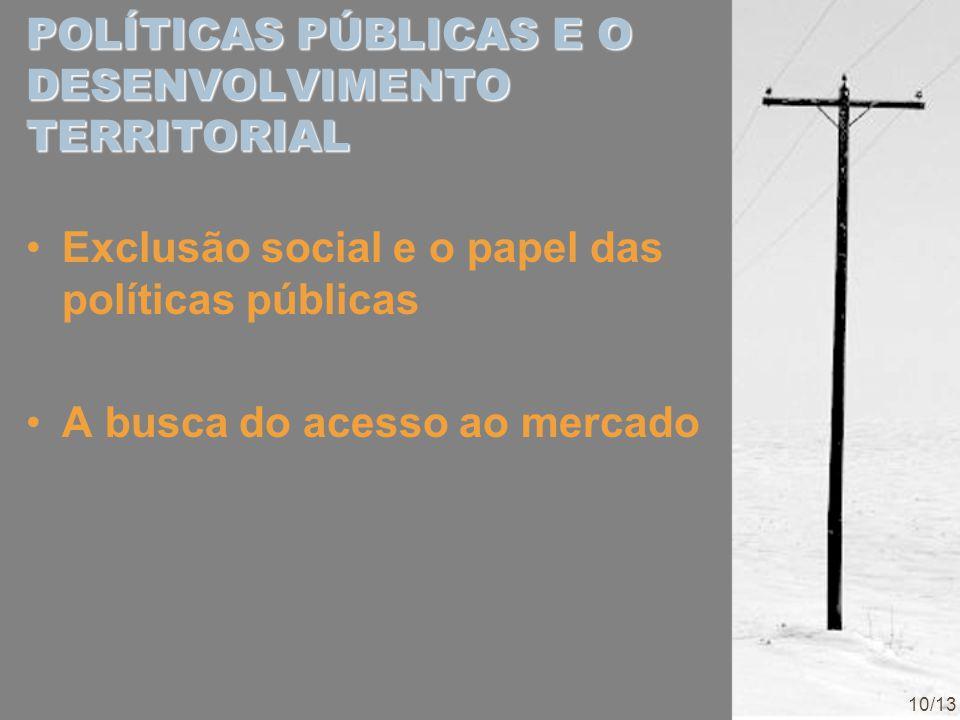 POLÍTICAS PÚBLICAS E O DESENVOLVIMENTO TERRITORIAL Exclusão social e o papel das políticas públicas A busca do acesso ao mercado 10/13