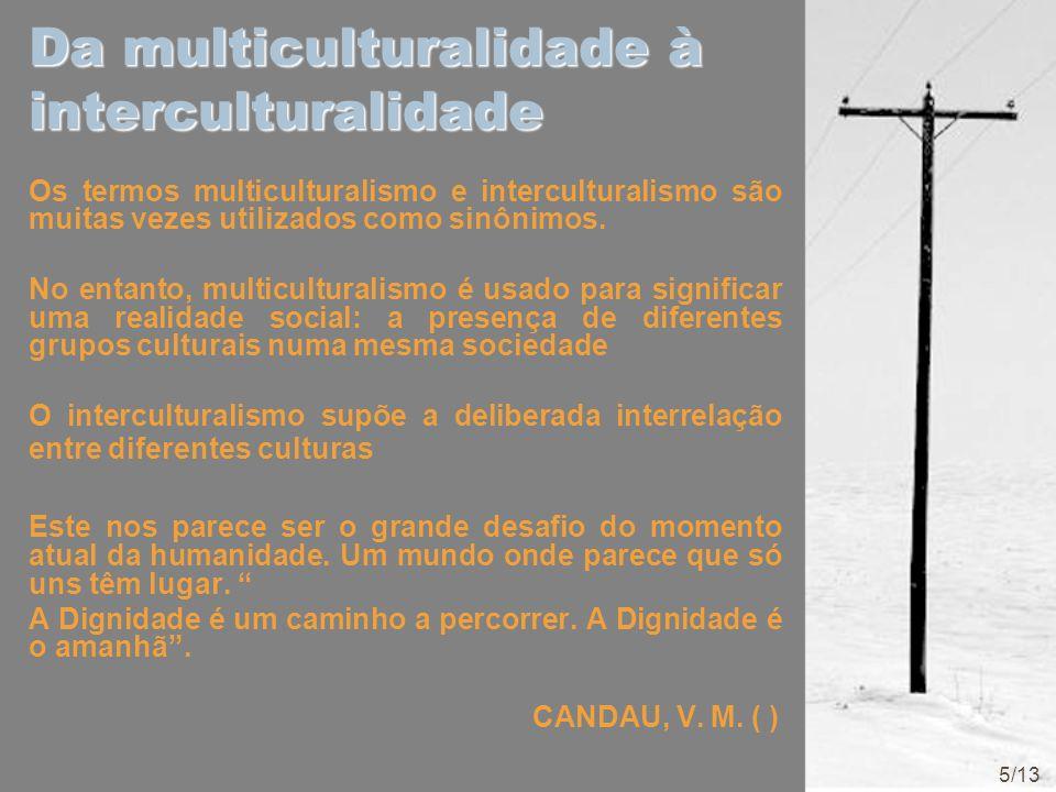 Da multiculturalidade à interculturalidade Os termos multiculturalismo e interculturalismo são muitas vezes utilizados como sinônimos. No entanto, mul