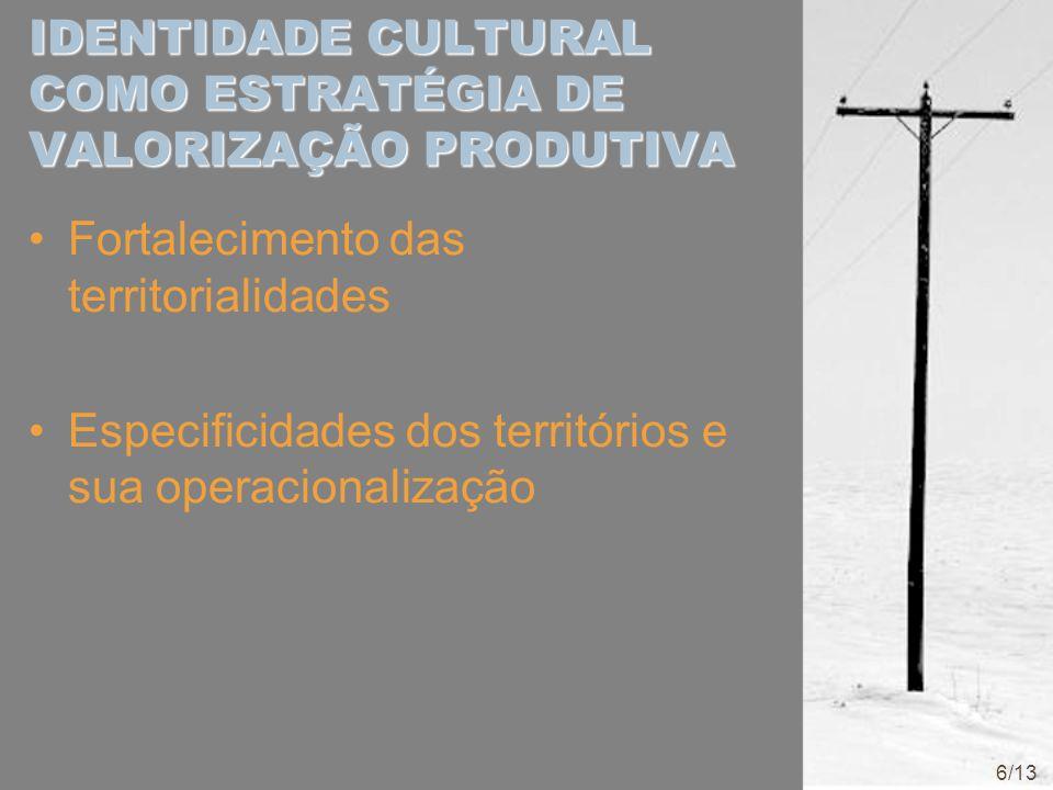 IDENTIDADE CULTURAL COMO ESTRATÉGIA DE VALORIZAÇÃO PRODUTIVA Fortalecimento das territorialidades Especificidades dos territórios e sua operacionaliza