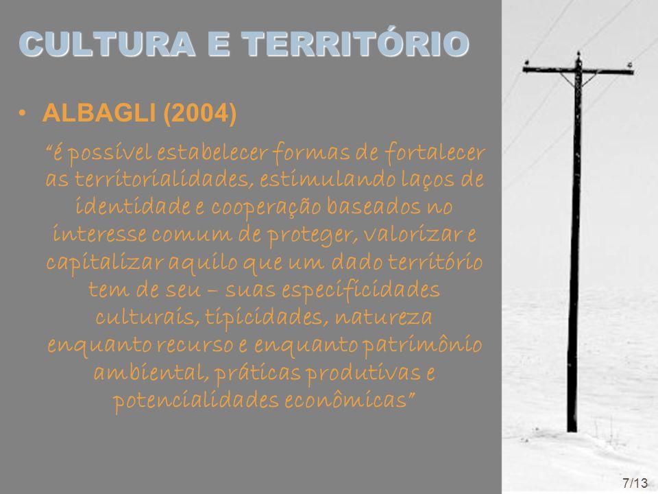 """CULTURA E TERRITÓRIO ALBAGLI (2004) """"é possível estabelecer formas de fortalecer as territorialidades, estimulando laços de identidade e cooperação ba"""